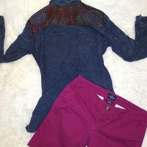 Denim pattern shirt and Bermuda short